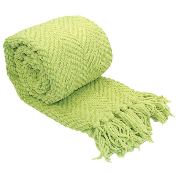 Knitted Tassels Throw Tweed Textured Blanket
