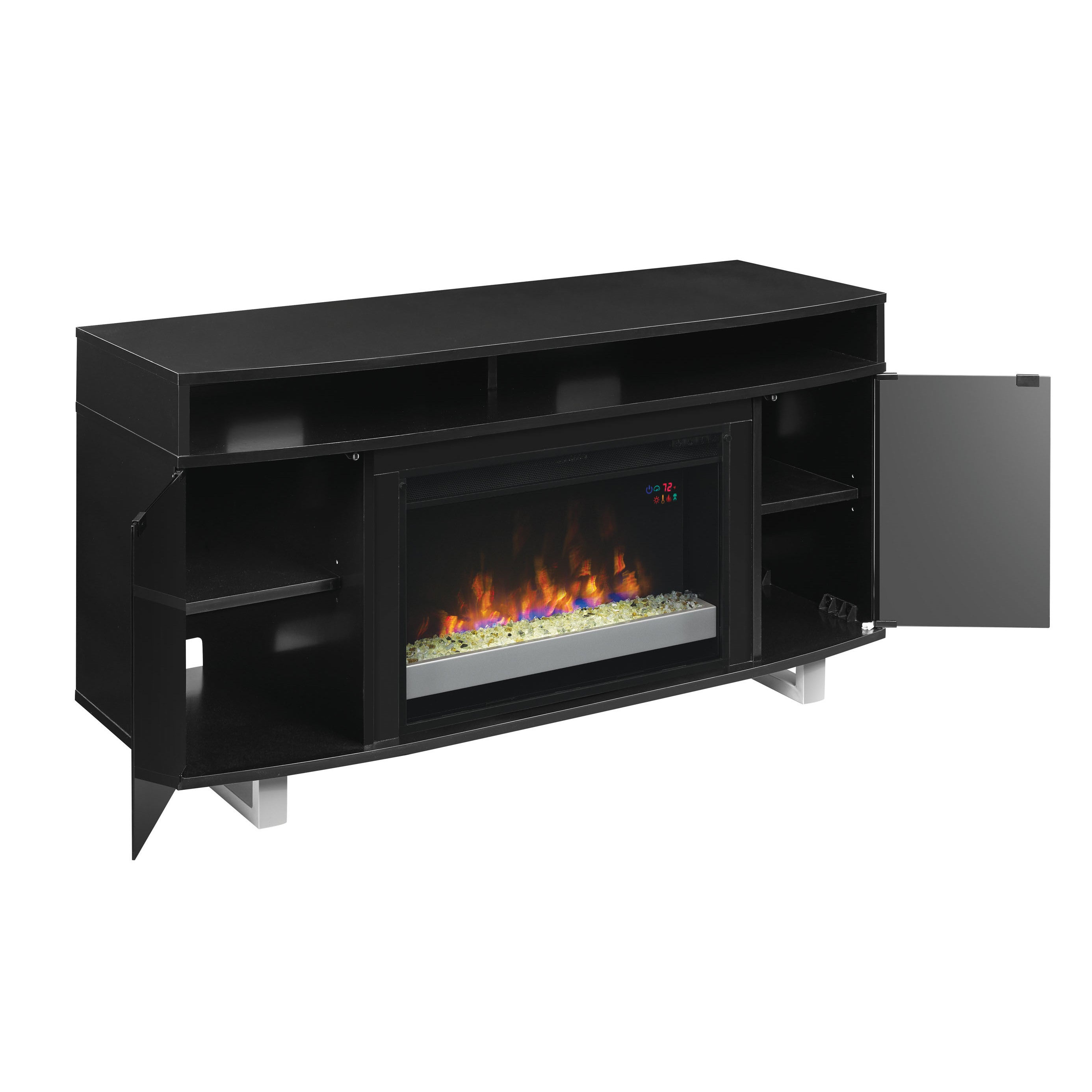 Enterprise Lite Tv Stand For Tvs Up To 60 With 26 Infrared Quartz Electric Fireplace Black Overstock 15076875