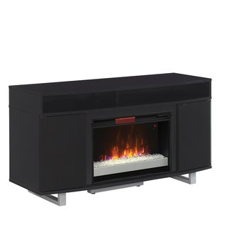 """Enterprise Lite TV Stand for TVs up to 60"""" with 26"""" Infrared Quartz Electric Fireplace, Black"""