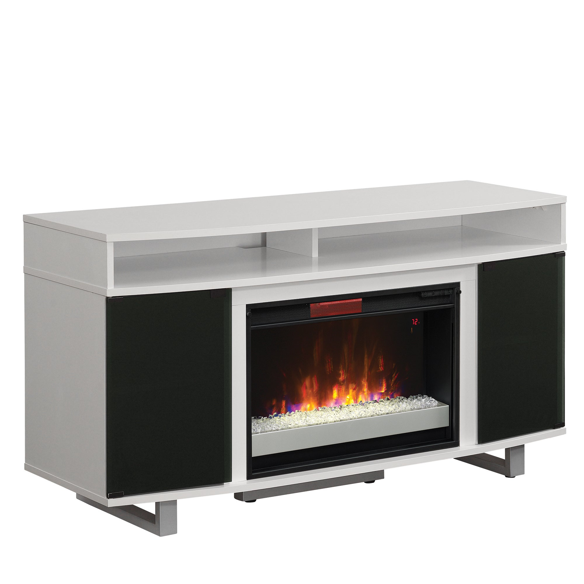 Enterprise Lite Tv Stand For Tvs Up To 60 With 26 Infrared Quartz Electric Fireplace High Gloss White Overstock 15076876