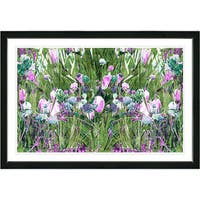 Framed Fine Art Contemporary Floral Still Life Spring Garden Bloom Modern Wall Art Painting Giclee Print by Artist Zhee Singer