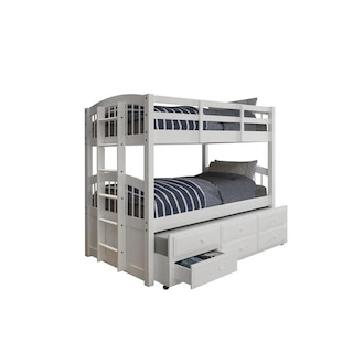 Shop Acme Furniture Micah White Twin Over Twin Bunk Bed With 3