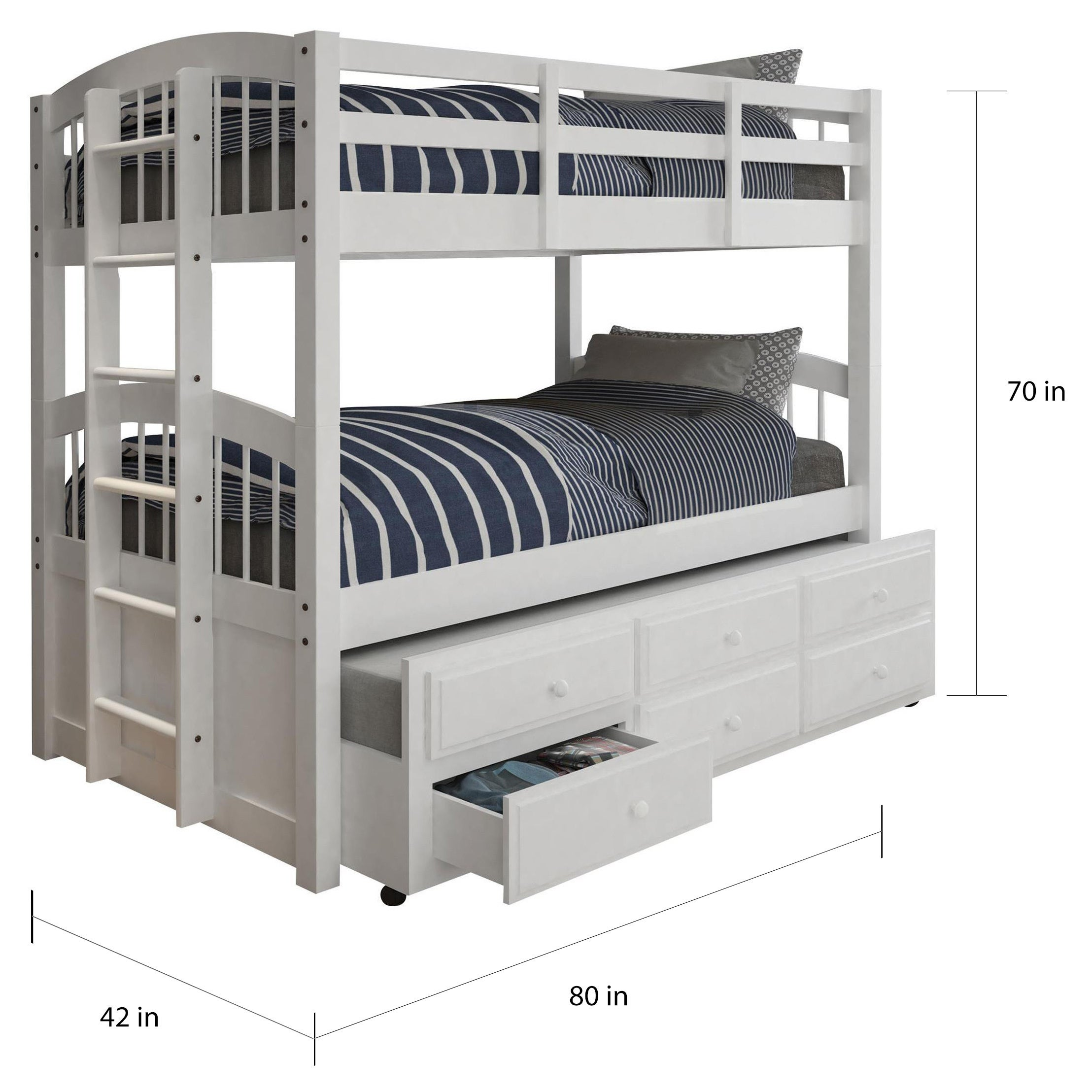 Picture of: Acme Furniture Micah White Twin Over Twin Bunk Bed With 3 Drawer Trundle Overstock 15076887