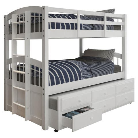Acme Furniture Micah White Twin-over-twin Bunk Bed with 3-drawer Trundle