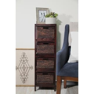 Wood Cabinet with 4 Wicker Baskets