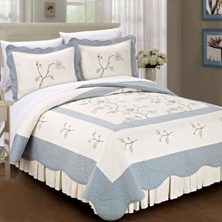 Serenta Prewashed Classic Embroidery Spring Flowers 3-piece Cotton Quilt Set