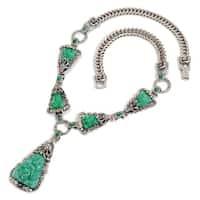 Sweet Romance Art Deco Vintage Green Jade Glass Triangle Necklace