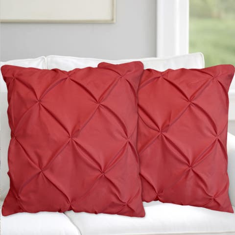 Hudson Pinch Pleat Decorative Throw Pillow Pair 18-inchAssorted Colors