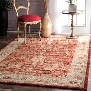 nuLOOM Traditional Oriental Lotus Floral Border Rug (7'6 x 9'6)