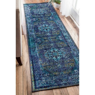 nuLOOM Traditional Vintage Inspired Overdyed Fancy Blue Rug (2'6 x 12') - 2' 6 x 12'