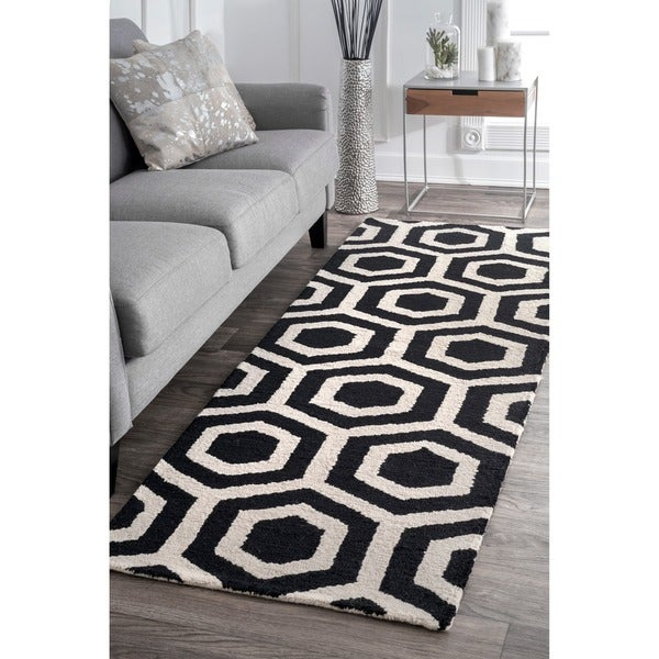 Nuloom Black And White Rug: Shop NuLOOM Handmade Hexagon Design Black And White Wool