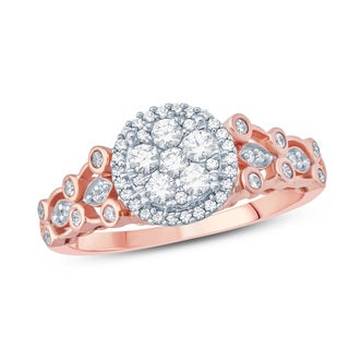 1/2 Carat Round Diamond Composite Floral Shape Enagagement Ring In 10k Rose Gold.