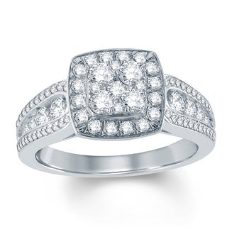 1 Carat Round Diamond Square Shape Composite Engagement Ring In 10K White Gold.