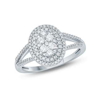 1/2 Carat Round Diamond Composite Engagement Ring In 10K White Gold.