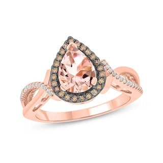 1 Carat Champagne & White Diamonds With Pear Shape Morganite Ring In 10k Rose Gold.