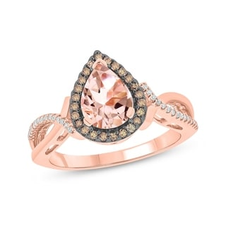 10K Rose Gold Morganite Engagement Ring - Pink