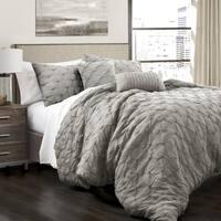 Lush Decor Ravello Pintuck 5 Piece Comforter Set - King - White (As Is Item)