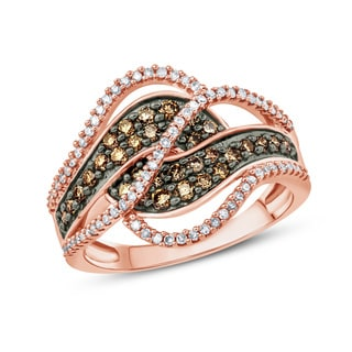 3/4 Carat Champagne And White Diamond Multi Row Bypass Fashion Ring In 10k Rose Gold.