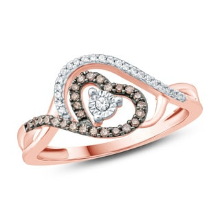 1/5 Carat White And Champagne Round Diamonds With Miracle plate in Heart Shape Promise Ring In 10K Rose Gold.