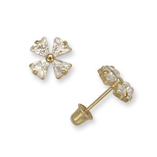 14k Yellow Gold Four Leaf Clover Cubic Zirconia Screw-back Earrings