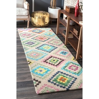 nuLOOM Handmade Contemporary Vibrant Mutli Diamonds Wool Runner Rug (2'6 x 8')