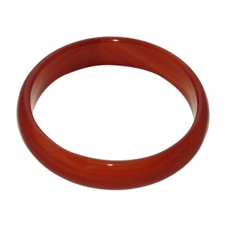 Genuine Solid Red Jade Bangle - Size 8-1/2