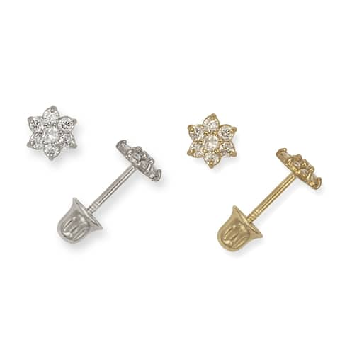 14K Childrens Cubic Zirconia Small Flower Screw-back Earrings