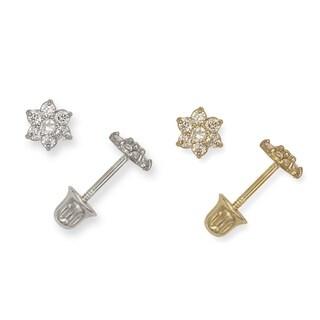 14K Childrens Cubic Zirconia Small Flower Screw-back Earrings