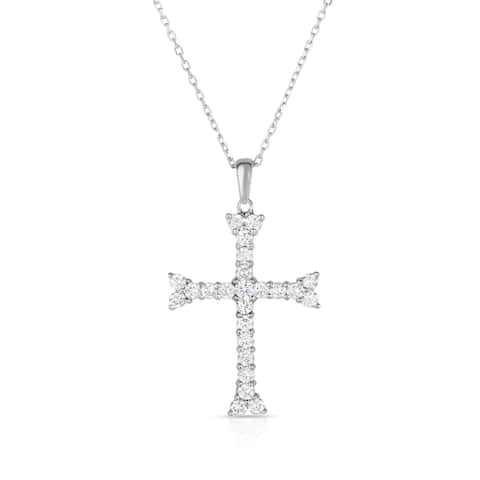"""Noray Designs 14K White Gold Diamond Cross Pendant With 18"""" Gold Chain"""
