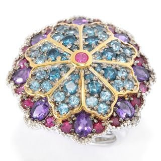 Michael Valitutti Palladium Silver Paris Ruby, African Amethyst & Blue Topaz Stained Glass Ring