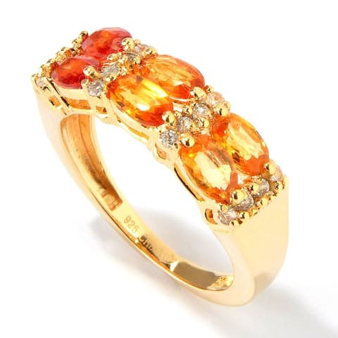 Yellow Gold over Silver 2.06ctw Shaded Orange Sapphire Ring