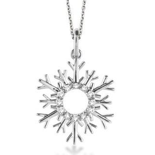 14k Gold 0.10ct Snowflake Diamond Pendant Necklace