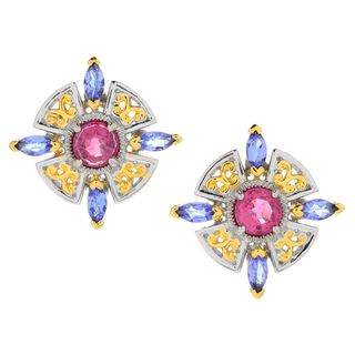Michael Valitutti Palladium Silver Rubellite & Tanzanite Stud Earrings