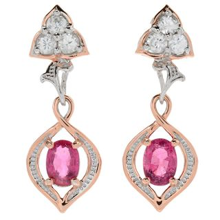 Michael Valitutti Palladium Silver Oval Rubellite & Round White Zircon Dangle Earrings