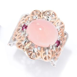 Michael Valitutti Palladium Silver Pink Chalcedony & Rhodolite Lace Pattern Ring