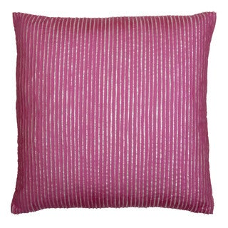 Pink Embroidered Silk Frills Feather Filled Throw Pillow