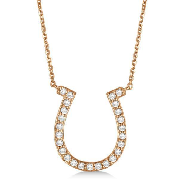 aaa7493542c47 Shop 14k Gold 0.40ct Pave Set Diamond Horseshoe Pendant Necklace ...