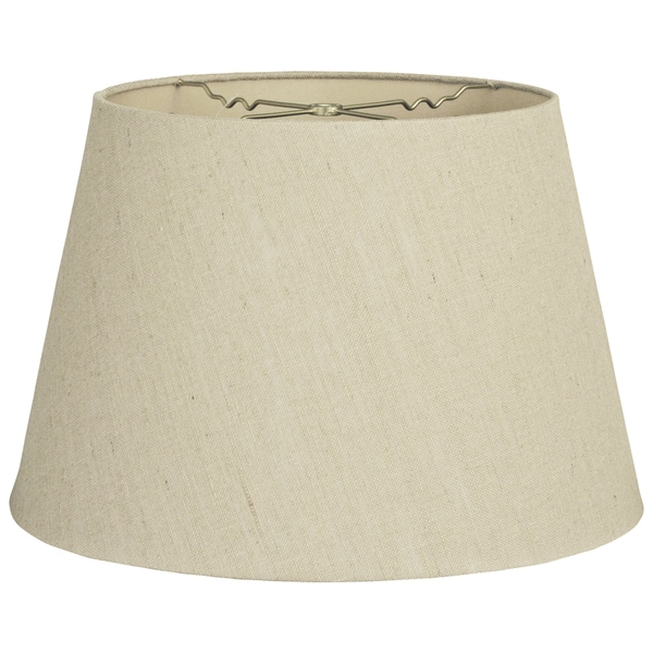 Royal Designs Beige Linen 11-inch x 15-inch x 10-inch Tapered Shallow Drum Hardback Lamp Shade