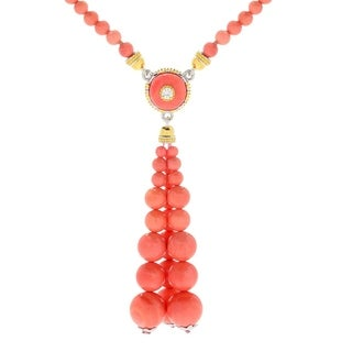 Michael Valitutti Palladium Silver Salmon Bamboo Coral & White Zircon Beaded Tassel Toggle Necklace