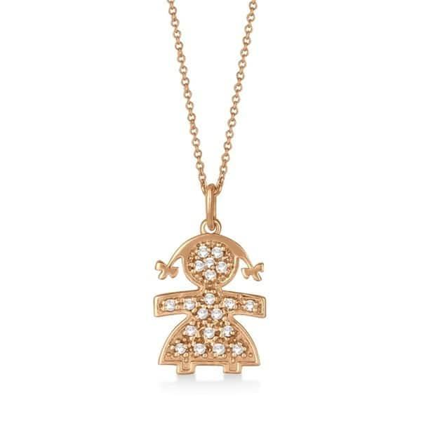 Shop 14k Gold 0 15ct Pave Set Diamond Girl Shape Pendant Necklace Overstock 15078054
