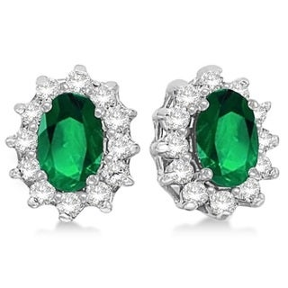 14k Gold 2.05ct Oval Emerald & Diamond Accented Earrings