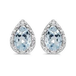 14k Gold 1.20ct Pear Aquamarine and Diamond Stud Earrings