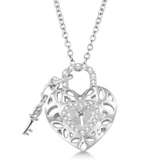 0.16ct Diamond Heart Key and Lock Pendant Necklace Sterling Silver