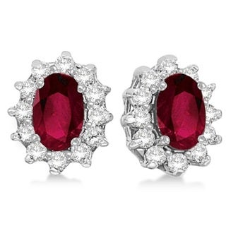 14k Gold 2.05ct Oval Ruby & Diamond Accented Earrings