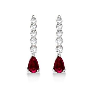 14k Gold 0.80ctw Pear Ruby & Diamond Graduated Drop Earrings