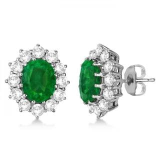14k Gold 7.10ctw Oval Emerald and Diamond Earrings