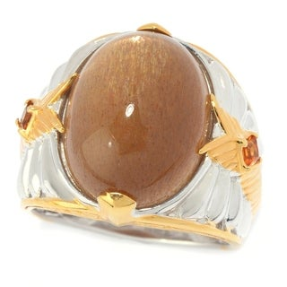 Michael Valitutti Palladium Silver Golden Moonstone & Madeira Citrine Textured Men's Ring