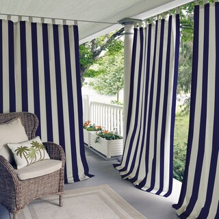 Elrene Highland Stripe Indoor/Outdoor Curtain Panel (Option: Red)