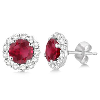 14k Gold 2.95ct Halo Diamond Accented and Ruby Earrings