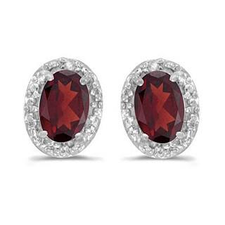14k Gold 1.10ct Diamond and Garnet Earrings